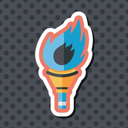 flaming: flaming torch flat icon with long shadow,eps10