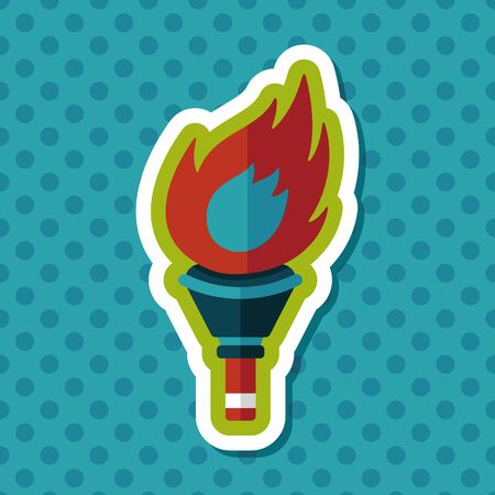 flaming torch: flaming torch flat icon with long shadow,eps10