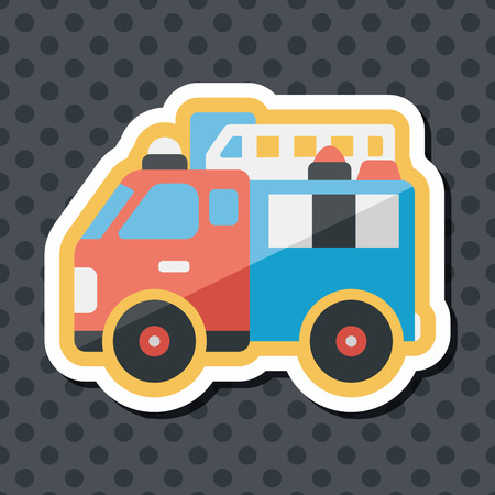 emergency engine: Transportation Fire truck flat icon with long shadow,eps10