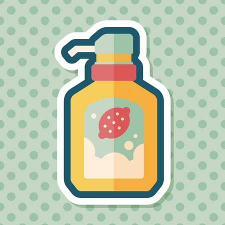 foaming: kitchenware dish soap flat icon with long shadow,eps10 Illustration