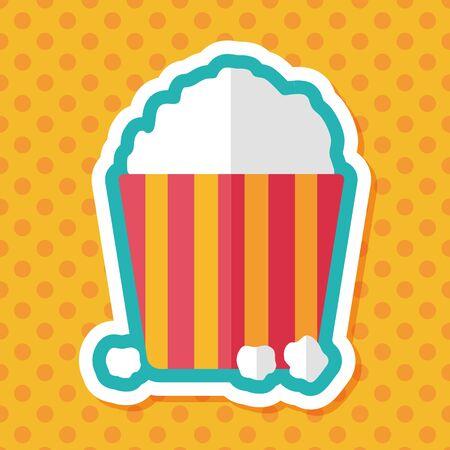 popcorn: Popcorn flat icon with long shadow,eps10