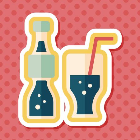 long drink: soda drink flat icon with long shadow,eps10