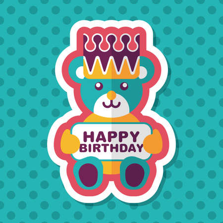 greeting card vector: birthday bear flat icon with long shadow,eps10