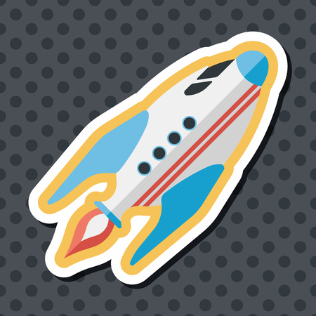 flame: Space rocket flat icon with long shadow,eps10