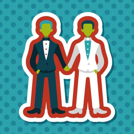 husband: wedding couple flat icon with long shadow,eps10