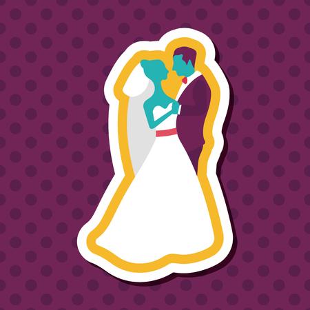 newlywed: wedding couple flat icon with long shadow,eps10