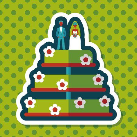 cake decorating: icono plana pastel de bodas con la sombra larga, eps10 Vectores