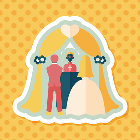 venue: wedding ceremony flat icon with long shadow,eps10