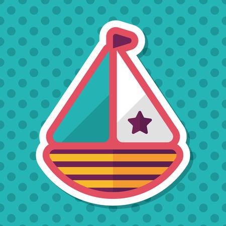 sailboat: Sailboat flat icon with long shadow,eps10