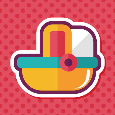 cradle: baby cradle bed flat icon with long shadow,eps10
