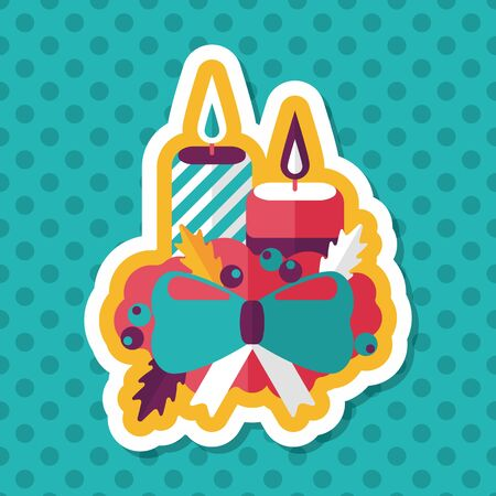 advent wreath: Christmas candle flat icon with long shadow.eps10 Illustration