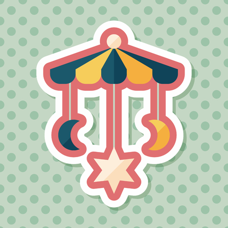 hanging toy: Baby crib hanging toy flat icon with long shadow,EPS 10 Illustration