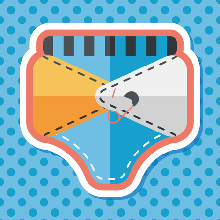 pampers: diaper flat icon with long shadow,EPS 10 Illustration