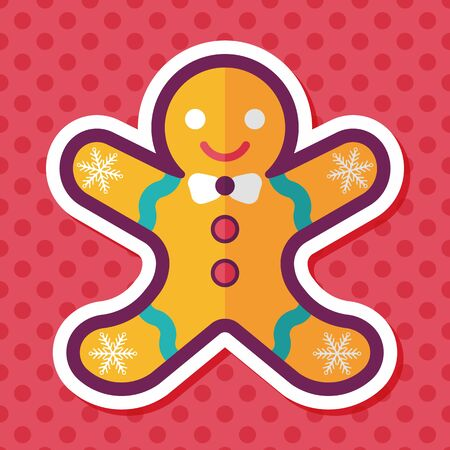gingerbreadman: Gingerbread man flat icon with long shadow,eps10