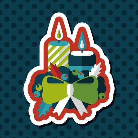 christmas candle: Christmas candle flat icon with long shadow.eps10 Illustration