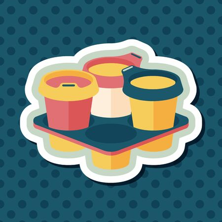 takeaway: takeaway coffee flat icon with long shadow Illustration
