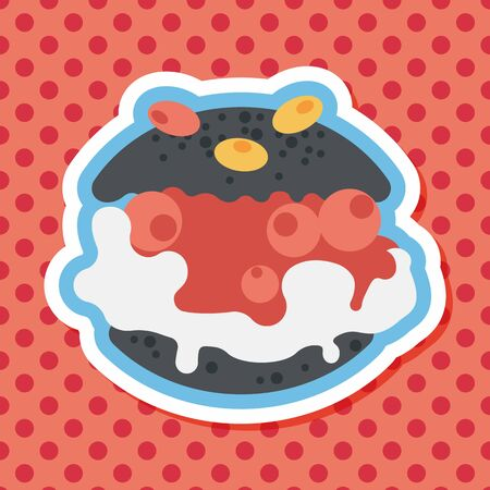 cream filled: Cream puffs flat icon with long shadow Illustration