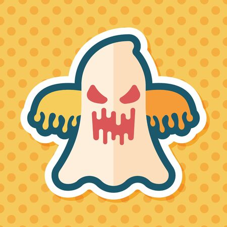 halloween ghost: halloween ghost flat icon with long shadow