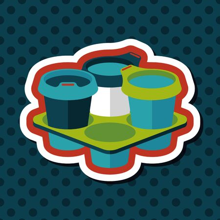 the protector: takeaway coffee flat icon with long shadow Illustration
