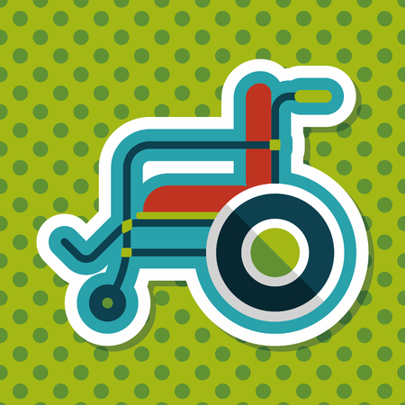 paraplegico: Icono plana con silla de ruedas con una larga sombra