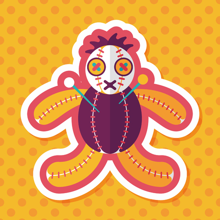 to pierce: Halloween voodoo doll flat icon with long shadow
