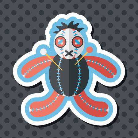 wizardry: Halloween voodoo doll flat icon with long shadow