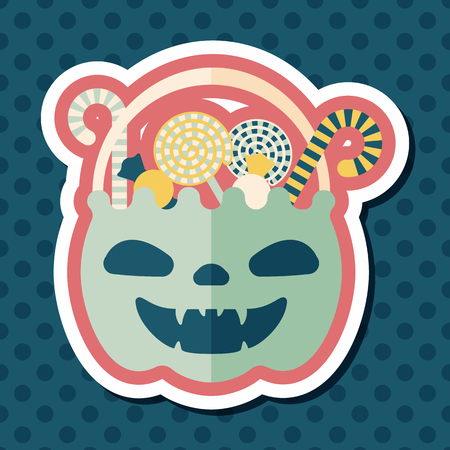 gummy: halloween candy flat icon with long shadow