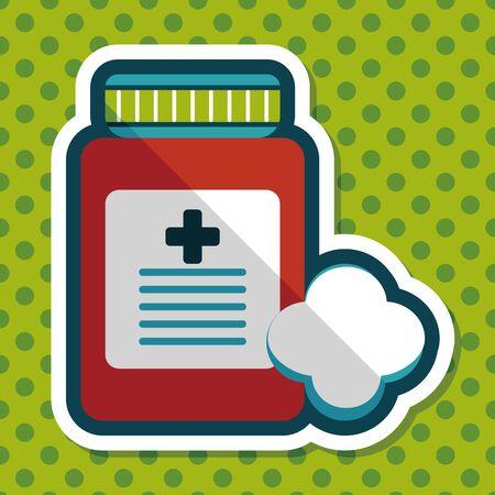 prescription bottles: Medical Bottle flat icon with long shadow Illustration