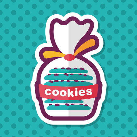 crumb: cookies flat icon with long shadow