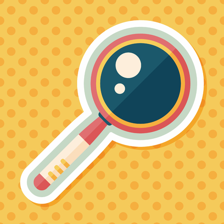 magnifying: Magnifying Glass flat icon with long shadow