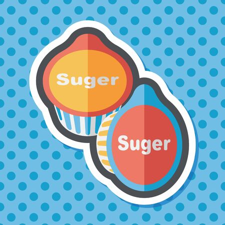 sweetening: sugar packet flat icon with long shadow Illustration