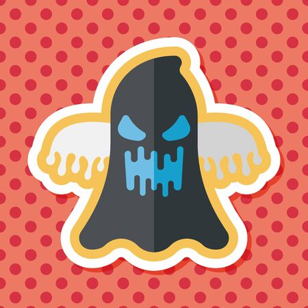ghostly: halloween ghost flat icon with long shadow