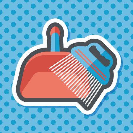 groomer: Pet dog broom flat icon with long shadow