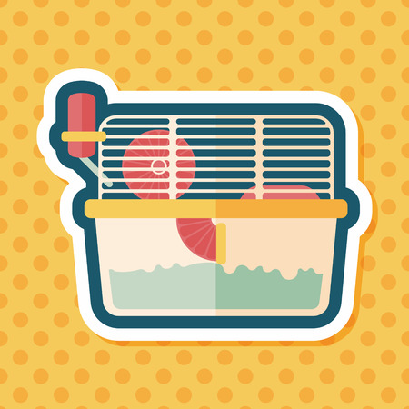 trapped: Pet mouse cage flat icon with long shadow
