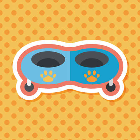 empty the bowl: Pet dog bowl flat icon with long shadow