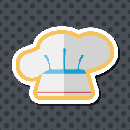 professional chef: kitchenware chef hat flat icon with long shadow Illustration