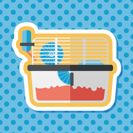 mouse trap: Pet mouse cage flat icon with long shadow