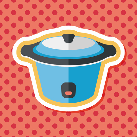 stainless steel pot: kitchenware electric pot flat icon with long shadow Illustration