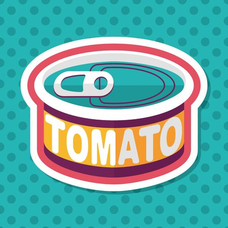 tinned goods: kitchenware tomato can flat icon with long shadow,eps10