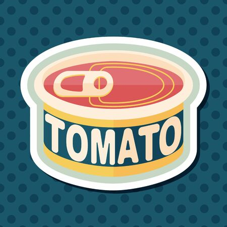 tinned goods: kitchenware tomato can flat icon with long shadow Illustration