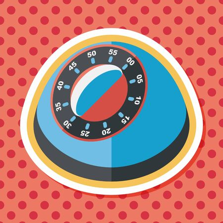 cooking time: kitchenware timer flat icon with long shadow