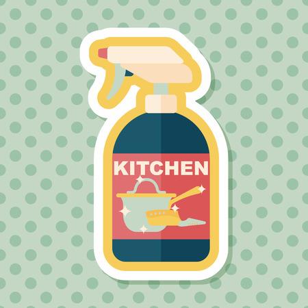 dishwashing liquid: kitchenware bottle soap flat icon with long shadow Illustration