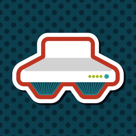 range: kitchenware range hood  flat icon with long shadow Illustration