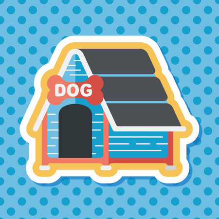 doghouse: Pet dog house flat icon with long shadow Illustration
