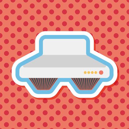 range hood: kitchenware range hood  flat icon with long shadow Illustration