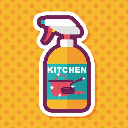 foaming: kitchenware bottle soap flat icon with long shadow Illustration
