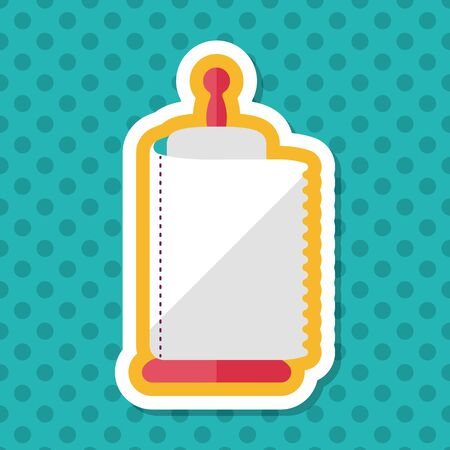 wiping: kitchenware paper flat icon with long shadow