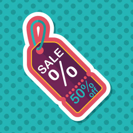 shopping sale price tag flat icon with long shadow