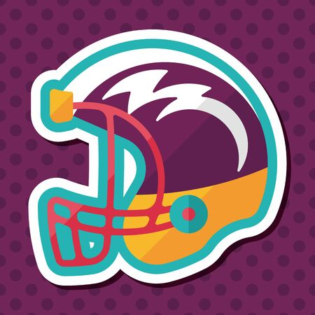 american football helmet: american football helmet flat icon with long shadow