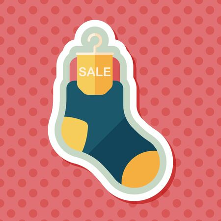 cheaper: shopping sale socks flat icon with long shadow